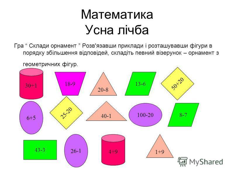 Математика Усна лічба Гра Склади орнамент Розв'язавши приклади і розташувавши фігури в порядку збільшення відповідей, складіть певний візерунок – орнамент з геометричних фігур. 30+1 4+9 1+9 20-8 6+5 26-1 100-20 43-3 40-1 18-9 8-7 13-6 25-20 50+20