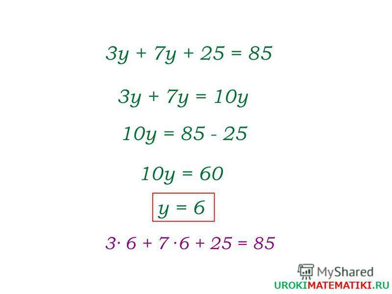 3 у + 7 у + 25 = 85 3 у + 7 у = 10 у 10 у = 85 - 25 10 у = 60 y = 6 3· 6 + 7 · 6 + 25 = 85 UROKIMATEMATIKI.RU