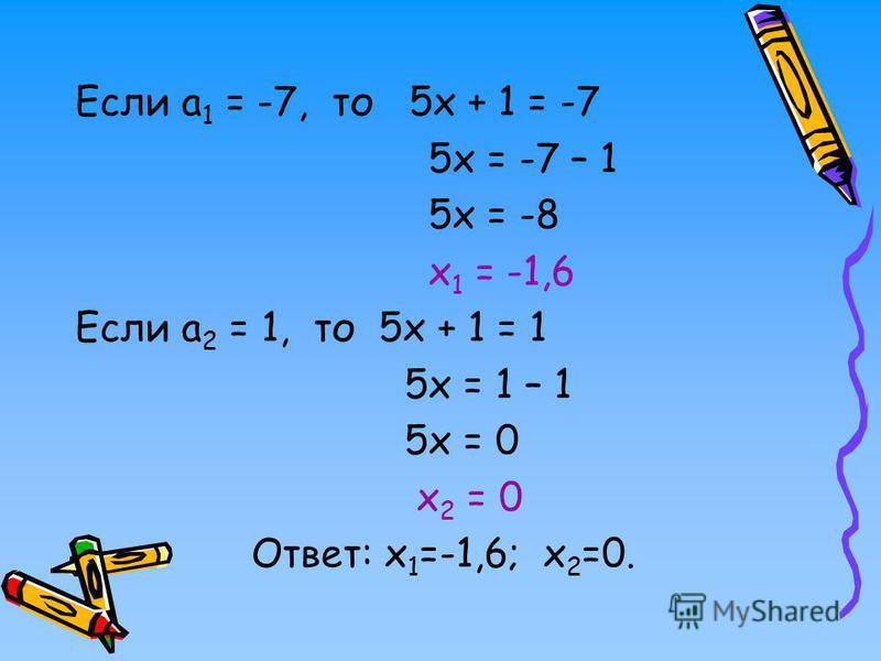 Если а 1 = -7, то 5 х + 1 = -7 5 х = -7 – 1 5 х = -8 х 1 = -1,6 Если а 2 = 1, то 5 х + 1 = 1 5 х = 1 – 1 5 х = 0 х 2 = 0 Ответ: х 1 =-1,6; х 2 =0.
