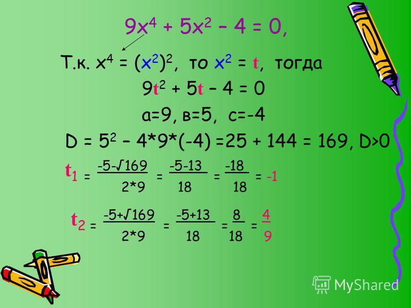 9 х 4 + 5 х 2 – 4 = 0, Т.к. х 4 = (х 2 ) 2, то х 2 = t, тогда 9 t 2 + 5 t – 4 = 0 а=9, в=5, с=-4 D = 5 2 – 4*9*(-4) =25 + 144 = 169, D>0 t 1 = -5-169 = -5-13 = -18 = -1 2*9 18 18 t 2 = -5+169 = -5+13 = 8 = 4 2*9 18 18 9