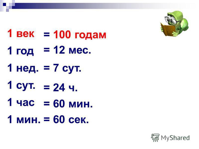 1 век 1 год 1 нед. 1 сут. 1 час 1 мин. = 100 годам = 12 мес. = 7 сут. = 24 ч. = 60 мин. = 60 сек.