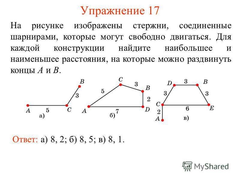 Упражнение 17 Ответ: а) 8, 2; б) 8, 5; в) 8, 1. На рисунке изображены стержни, соединенные шарнирами, которые могут свободно двигаться. Для каждой конструкции найдите наибольшее и наименьшее расстояния, на которые можно раздвинуть концы A и B.