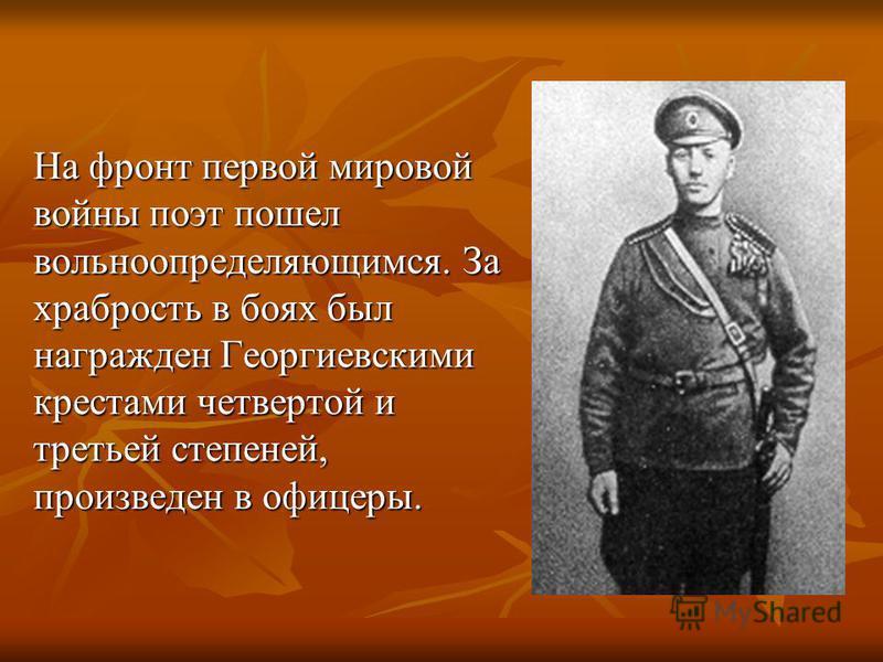 Hа фронт первой мировой войны поэт пошел вольноопределяющимся. За хpабpость в боях был награжден Геоpгиевскими крестами четвертой и третьей степеней, произведен в офицеры.
