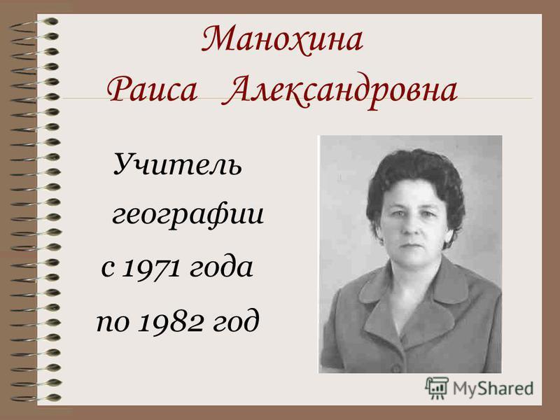 Манохина Раиса Александровна Учитель географии с 1971 года по 1982 год