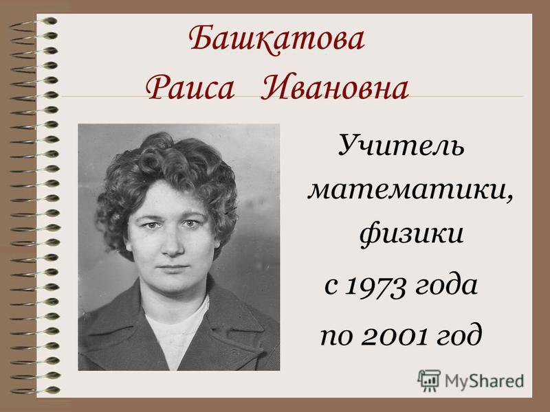Башкатова Раиса Ивановна Учитель математики, физики с 1973 года по 2001 год