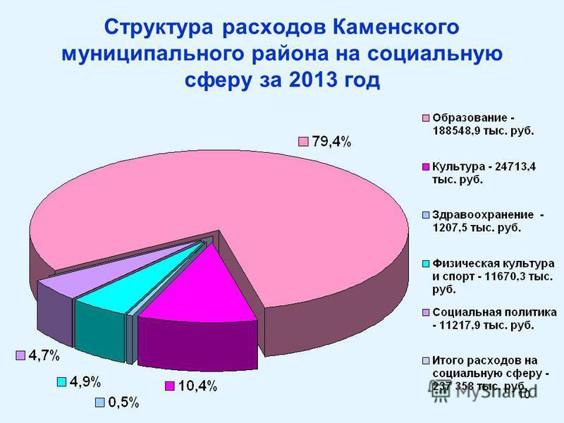 10 Структура расходов Каменского муниципального района на социальную сферу за 2013 год