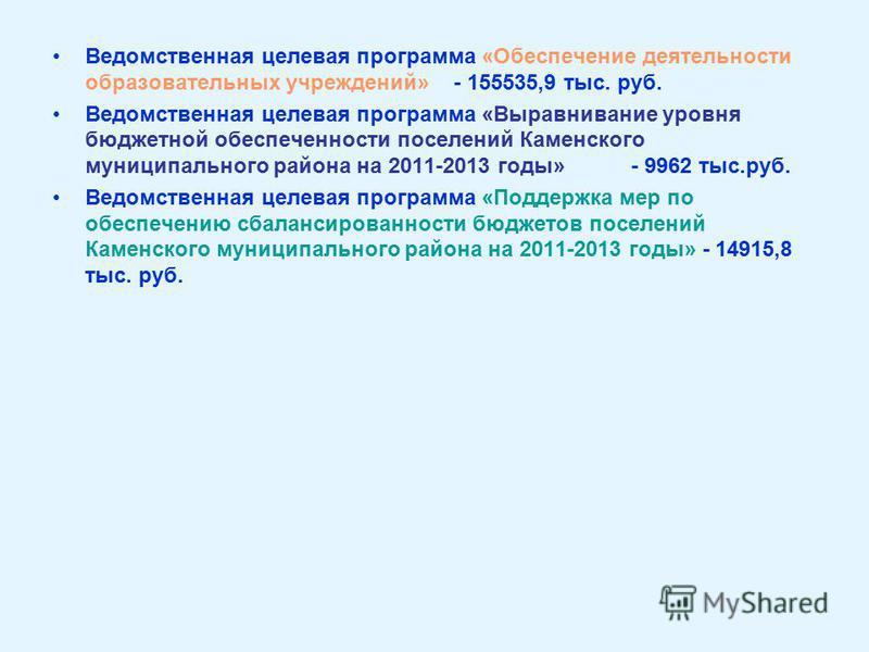 Ведомственная целевая программа «Обеспечение деятельности образовательных учреждений» - 155535,9 тыс. руб. Ведомственная целевая программа «Выравнивание уровня бюджетной обеспеченности поселений Каменского муниципального района на 2011-2013 годы» - 9