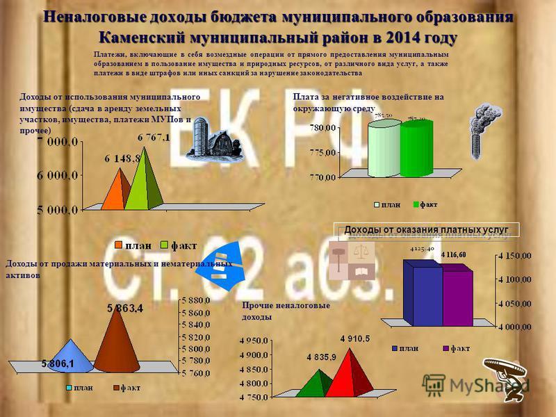 Неналоговые доходы бюджета муниципального образования Каменский муниципальный район в 2014 году Платежи, включающие в себя возмездные операции от прямого предоставления муниципальным образованием в пользование имущества и природных ресурсов, от разли