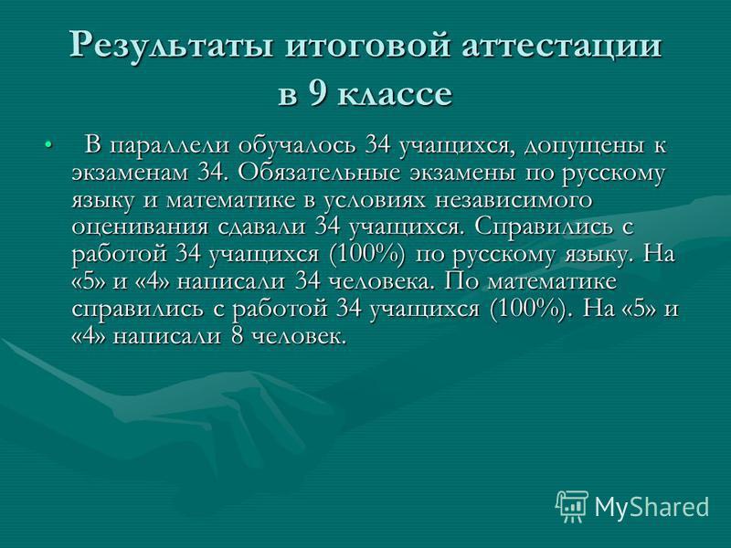 Результаты итоговой аттестации в 9 классе В параллели обучалось 34 учащихся, допущены к экзаменам 34. Обязательные экзамены по русскому языку и математике в условиях независимого оценивания сдавали 34 учащихся. Справились с работой 34 учащихся (100%)