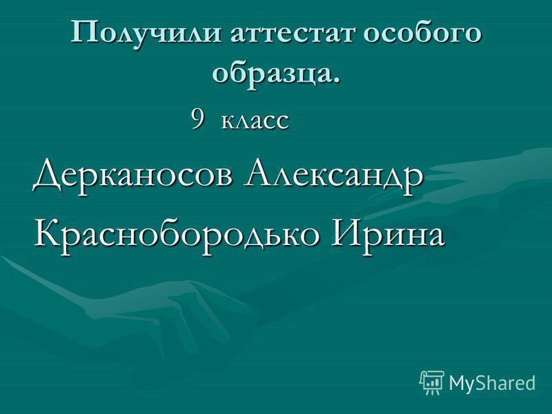 Получили аттестат особого образца. 9 класс 9 класс Дерканосов Александр Краснобородько Ирина