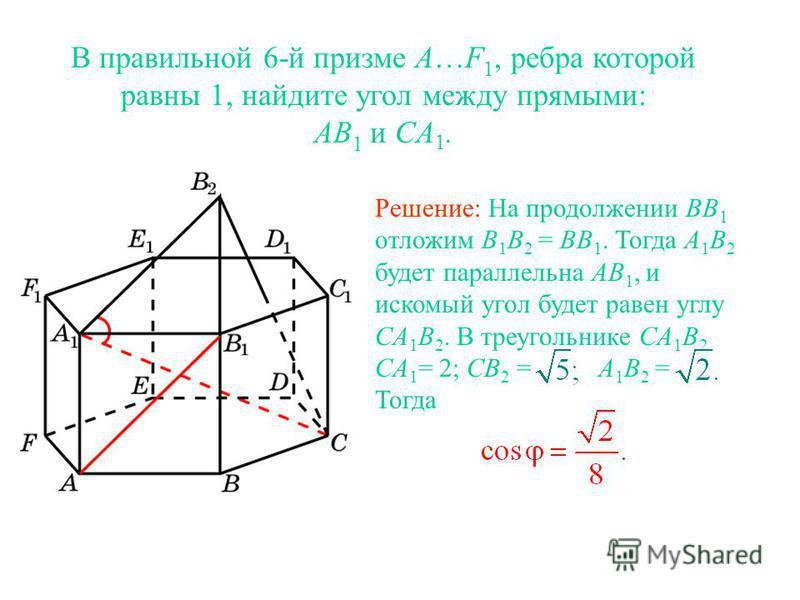 В правильной 6-й призме A…F 1, ребра которой равны 1, найдите угол между прямыми: AB 1 и CA 1. Решение: На продолжении BB 1 отложим B 1 B 2 = BB 1. Тогда A 1 B 2 будет параллельна AB 1, и искомый угол будет равен углу CA 1 B 2. В треугольнике CA 1 B