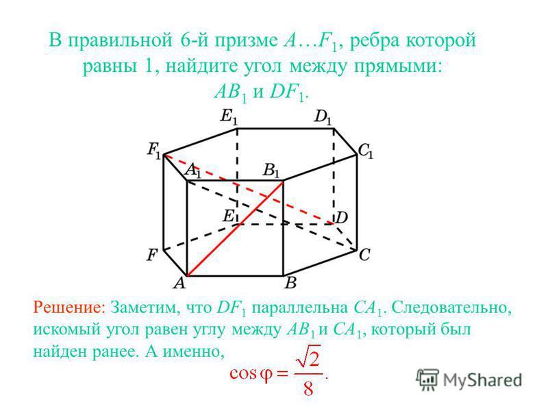 В правильной 6-й призме A…F 1, ребра которой равны 1, найдите угол между прямыми: AB 1 и DF 1. Решение: Заметим, что DF 1 параллельна CA 1. Следовательно, искомый угол равен углу между AB 1 и CA 1, который был найден ранее. А именно,