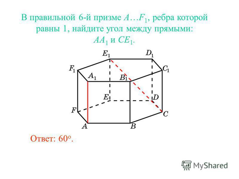 В правильной 6-й призме A…F 1, ребра которой равны 1, найдите угол между прямыми: AA 1 и CE 1. Ответ: 60 о.