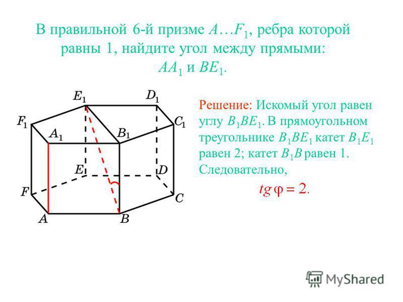 В правильной 6-й призме A…F 1, ребра которой равны 1, найдите угол между прямыми: AA 1 и BE 1. Решение: Искомый угол равен углу B 1 BE 1. В прямоугольном треугольнике B 1 BE 1 катет B 1 E 1 равен 2; катет B 1 B равен 1. Следовательно,
