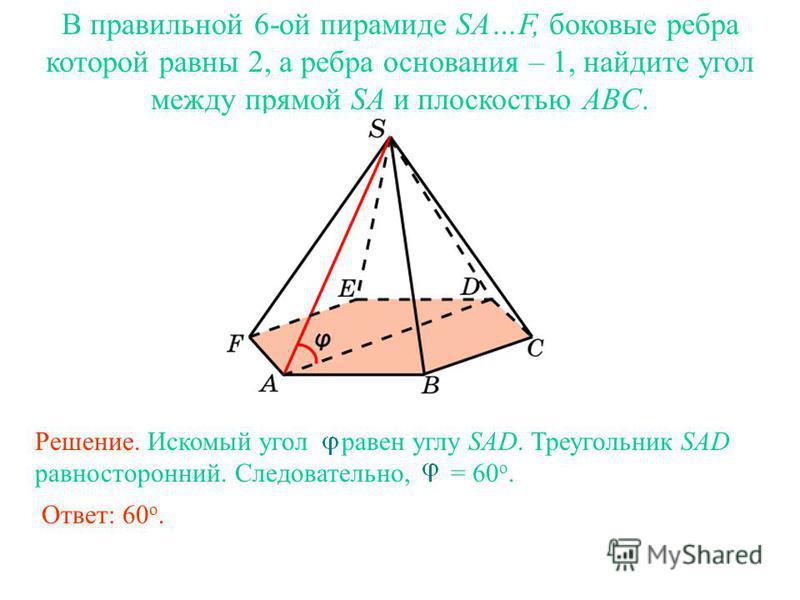 В правильной 6-ой пирамиде SA…F, боковые ребра которой равны 2, а ребра основания – 1, найдите угол между прямой SA и плоскостью ABC. Ответ: 60 о. Решение. Искомый угол равен углу SAD. Треугольник SAD равносторонний. Следовательно, = 60 о.