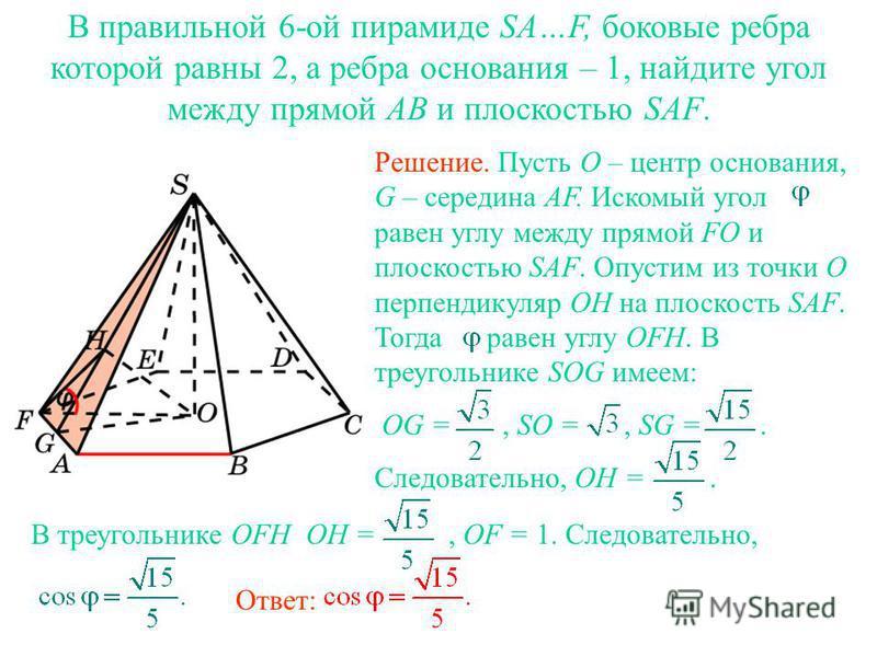 В правильной 6-ой пирамиде SA…F, боковые ребра которой равны 2, а ребра основания – 1, найдите угол между прямой AB и плоскостью SAF. Ответ: Решение. Пусть O – центр основания, G – середина AF. Искомый угол равен углу между прямой FO и плоскостью SAF