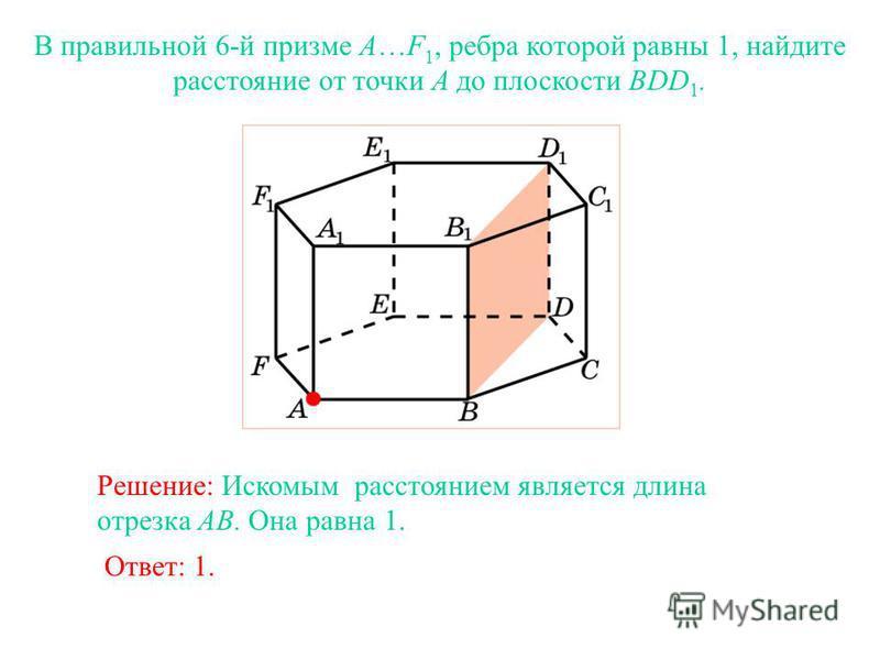 В правильной 6-й призме A…F 1, ребра которой равны 1, найдите расстояние от точки A до плоскости BDD 1. Ответ: 1. Решение: Искомым расстоянием является длина отрезка AB. Она равна 1.
