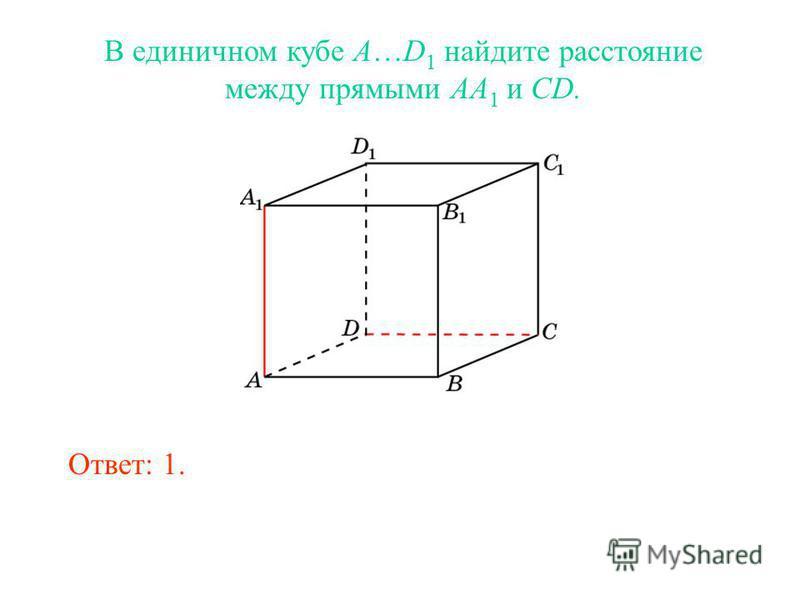 В единичном кубе A…D 1 найдите расстояние между прямыми AA 1 и CD. Ответ: 1.