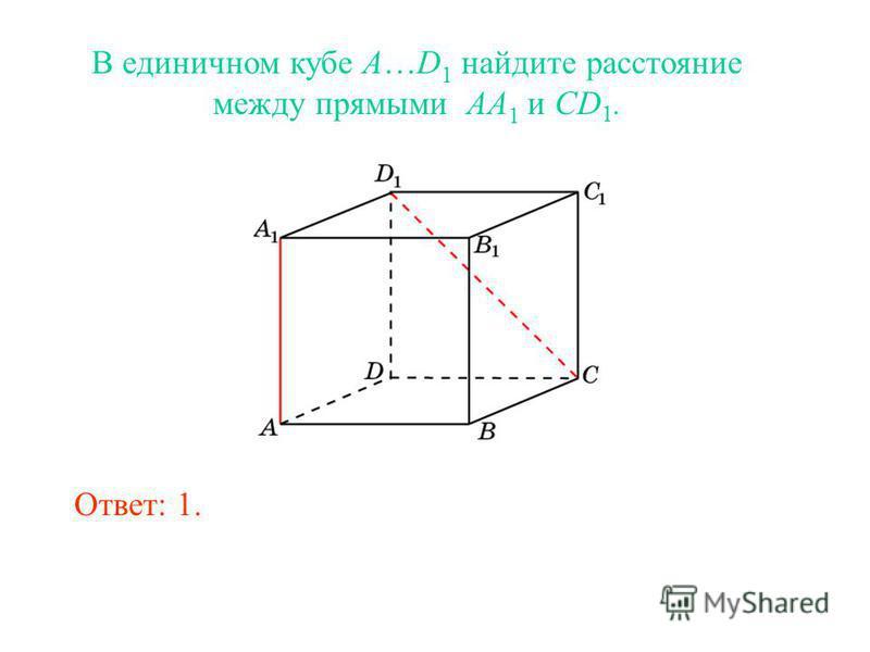В единичном кубе A…D 1 найдите расстояние между прямыми AA 1 и CD 1. Ответ: 1.
