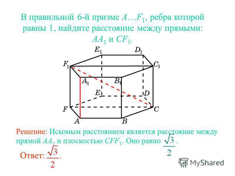 В правильной 6-й призме A…F 1, ребра которой равны 1, найдите расстояние между прямыми: AA 1 и CF 1. Ответ:. Решение: Искомым расстоянием является расстояние между прямой AA 1 и плоскостью CFF 1. Оно равно.