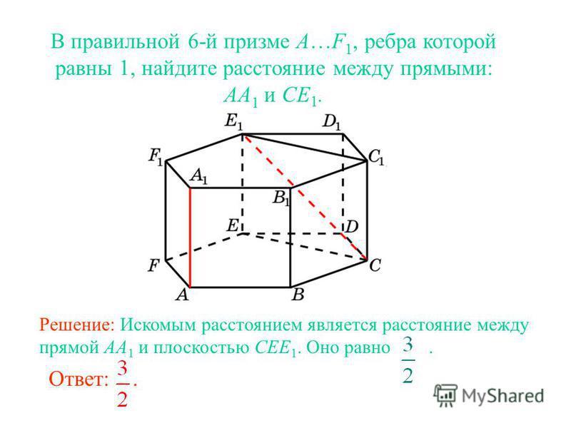 В правильной 6-й призме A…F 1, ребра которой равны 1, найдите расстояние между прямыми: AA 1 и CE 1. Ответ:. Решение: Искомым расстоянием является расстояние между прямой AA 1 и плоскостью CEE 1. Оно равно.