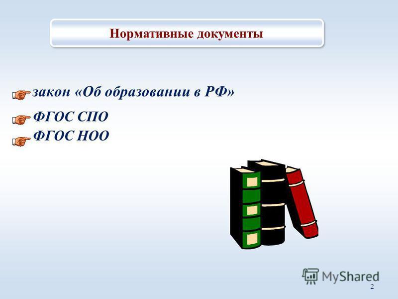закон «Об образовании в РФ» ФГОС СПО ФГОС НОО 2 Нормативные документы