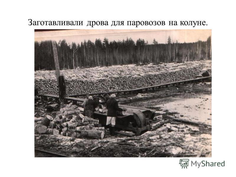 Заготавливали дрова для паровозов на колуне.
