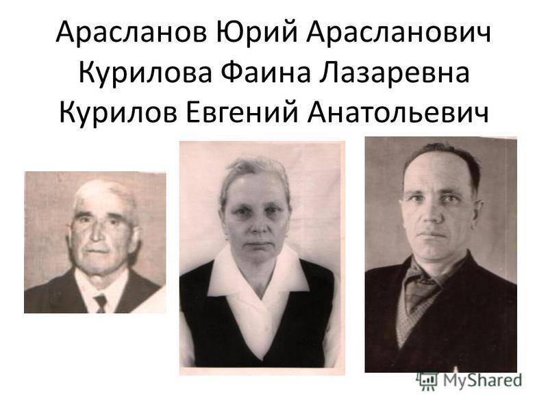 Арасланов Юрий Арасланович Курилова Фаина Лазаревна Курилов Евгений Анатольевич