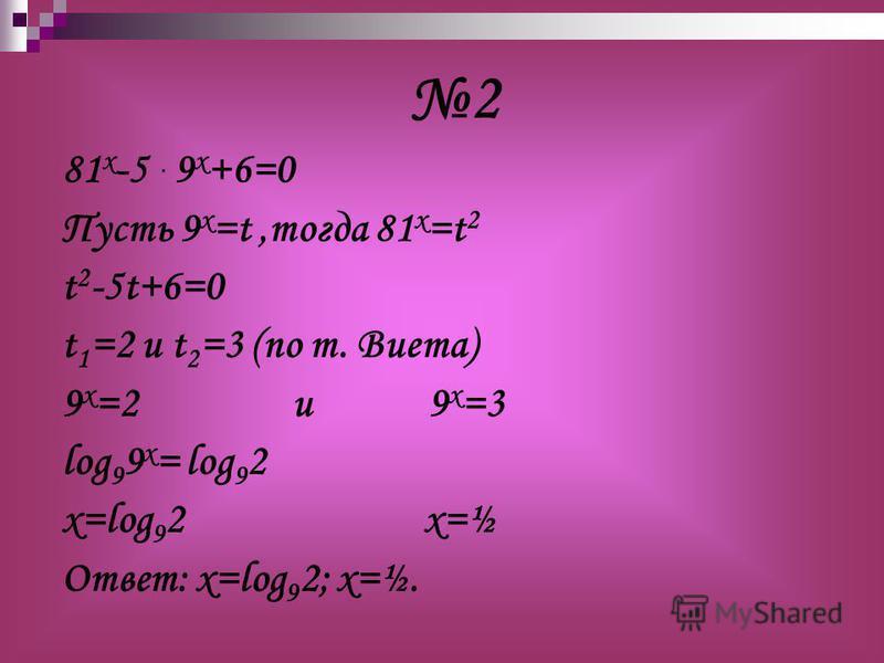 81 x -5 · 9 x +6=0 Пусть 9 х =t,тогда 81 х =t 2 t 2 -5t+6=0 t 1 =2 u t 2 =3 (по т. Виета) 9 х =2 и 9 х =3 log 9 9 x = log 9 2 х=log 9 2 х=½ Ответ: х=log 9 2; х=½. 2