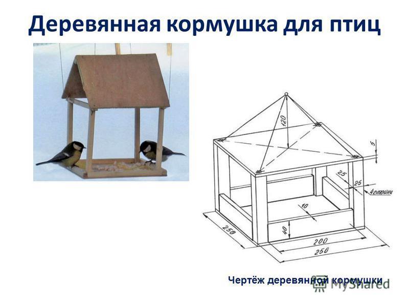 Деревянная кормушка для птиц Чертёж деревянной кормушки