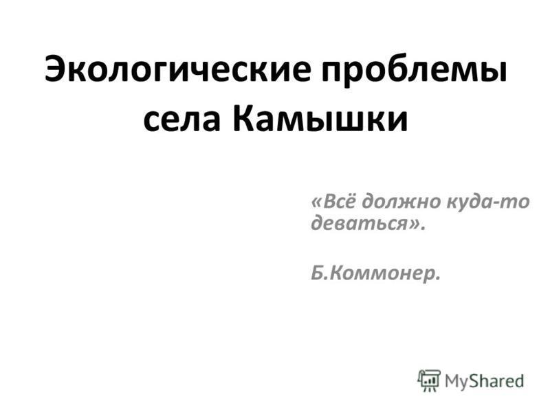 Экологические проблемы села Камышки «Всё должно куда-то деваться». Б.Коммонер.