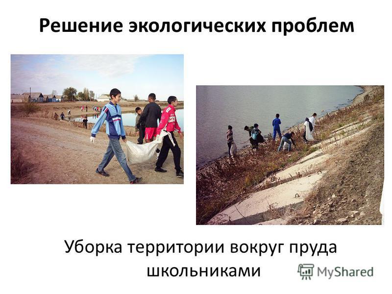 Решение экологических проблем Уборка территории вокруг пруда школьниками