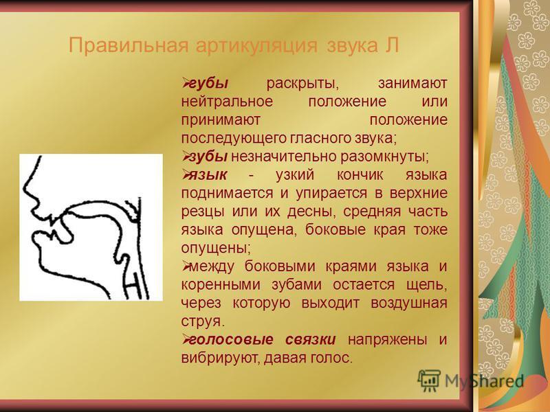 Правильная артикуляция звука Л губы раскрыты, занимают нейтральное положение или принимают положение последующего гласного звука; зубы незначительно разомкнуты; язык - узкий кончик языка поднимается и упирается в верхние резцы или их десны, средняя ч