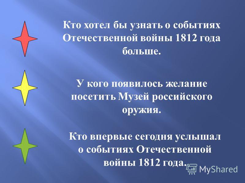 Кто хотел бы узнать о событиях Отечественной войны 1812 года больше. У кого появилось желание посетить Музей российского оружия. Кто впервые сегодня услышал о событиях Отечественной войны 1812 года.