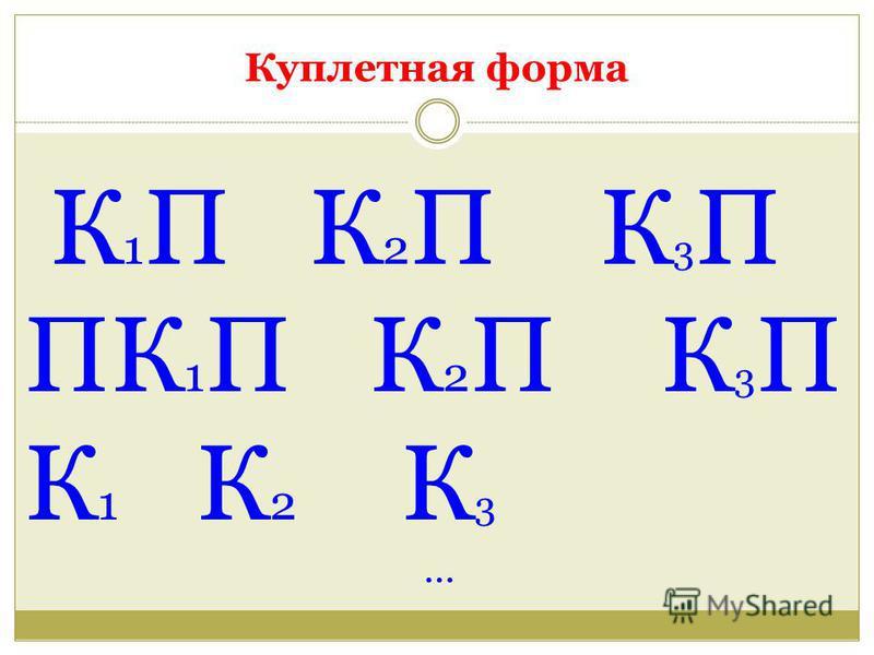 Куплетная форма К 1 П К 2 П К 3 П ПК 1 П К 2 П К 3 П К 1 К 2 К 3 …