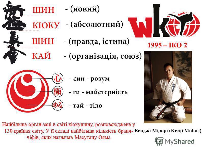 1995 – ІКО 2 Кенджі Мідорі (Kenji Midori) Найбільша організаці в світі кіокушину, розповсюджена у 130 країнах світу. У її складі найбільша кількість бранч- чіфів, яких назначав Масутацу Ояма
