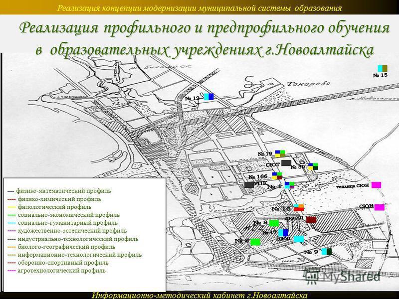 Реализация концепции модернизации муниципальной системы образования Информационно-методический кабинет г.Новоалтайска ---- физико-математический профиль ---- физико-химический профиль ---- филологический профиль ---- социально-экономический профиль -