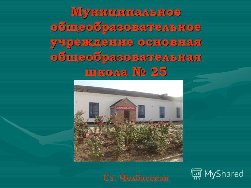 Муниципальное общеобразовательное учреждение основная общеобразовательная школа 25 Ст. Челбасская
