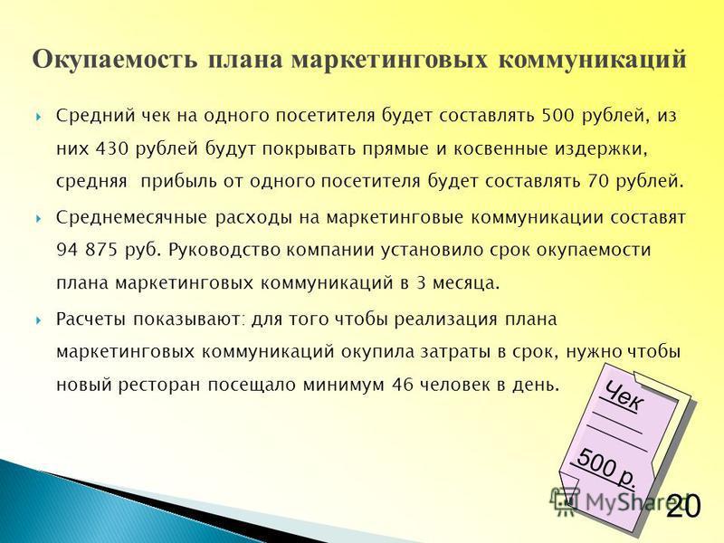 Средний чек на одного посетителя будет составлять 500 рублей, из них 430 рублей будут покрывать прямые и косвенные издержки, средняя прибыль от одного посетителя будет составлять 70 рублей. Среднемесячные расходы на маркетинговые коммуникации составя