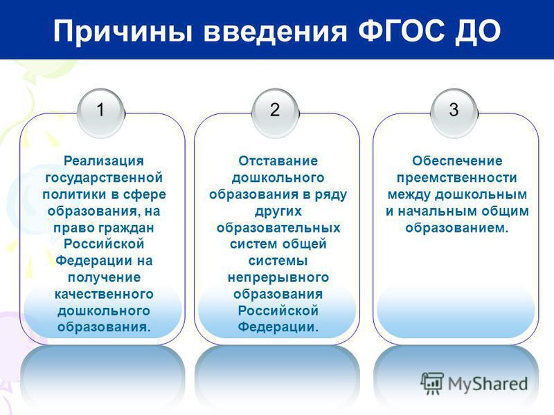 1 Реализация государственной политики в сфере образования, на право граждан Российской Федерации на получение качественного дошкольного образования. Причины введения ФГОС ДО 2 Отставание дошкольного образования в ряду других образовательных систем об