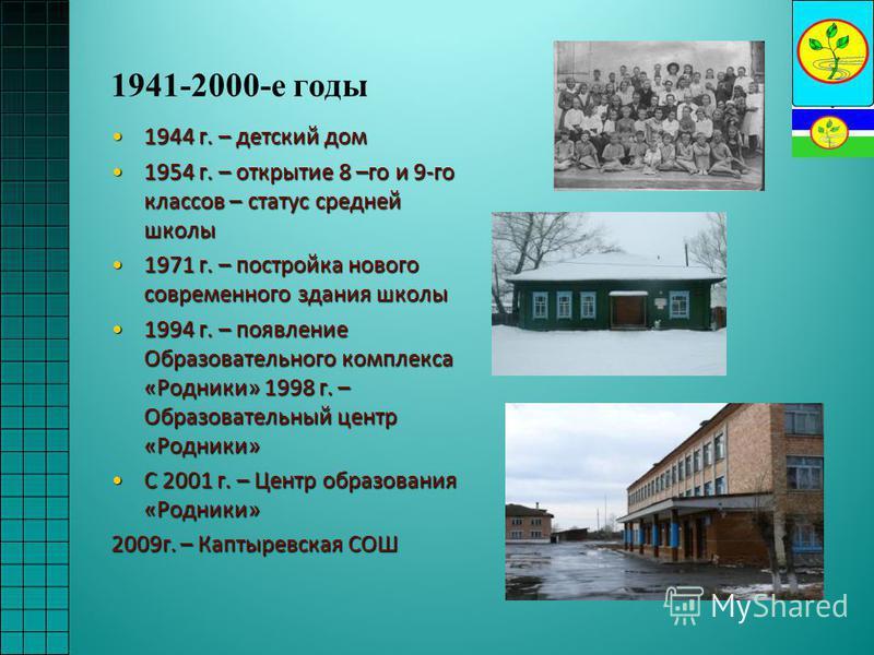 1941-2000-е годы 1944 г. – детский дом 1944 г. – детский дом 1954 г. – открытие 8 –го и 9-го классов – статус средней школы 1954 г. – открытие 8 –го и 9-го классов – статус средней школы 1971 г. – постройка нового современного здания школы 1971 г. –