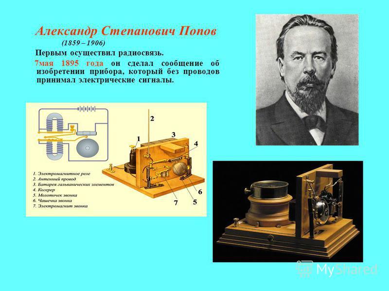 Александр Степанович Попов (1859 – 1906) Первым осуществил радиосвязь. 7 мая 1895 года он сделал сообщение об изобретении прибора, который без проводов принимал электрические сигналы.