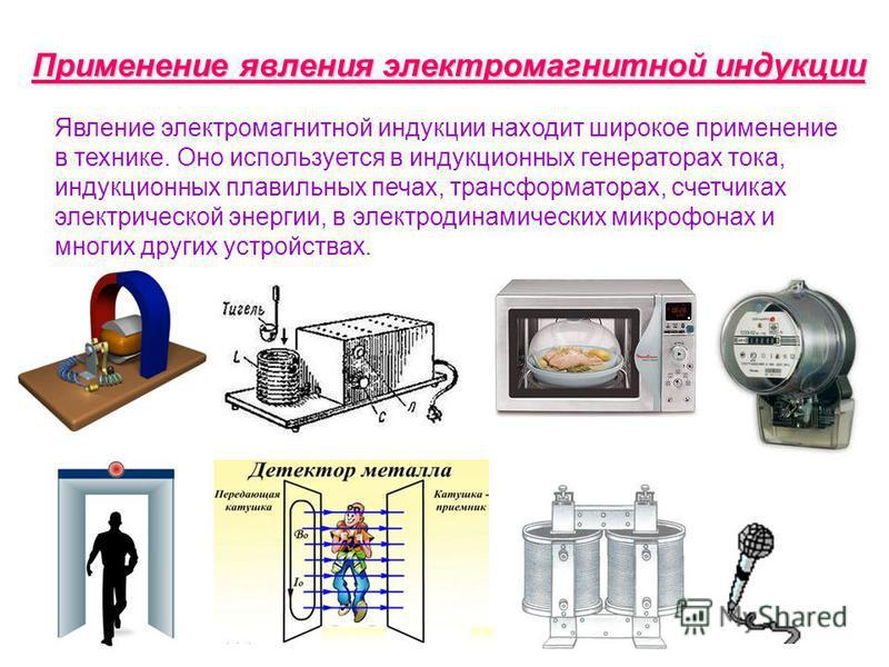 Применение явления электромагнитной индукции Явление электромагнитной индукции находит широкое применение в технике. Оно используется в индукционных генераторах тока, индукционных плавильных печах, трансформаторах, счетчиках электрической энергии, в