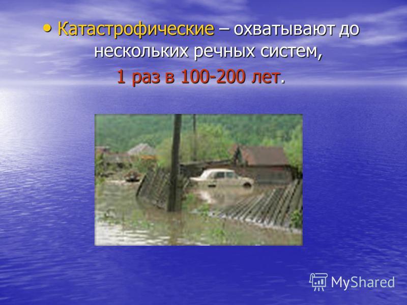 Катастрофические – охватывают до нескольких речных систем, Катастрофические – охватывают до нескольких речных систем, 1 раз в 100-200 лет.
