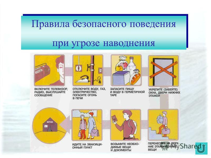 Правила безопасного поведения при угрозе наводнения Правила безопасного поведения при угрозе наводнения