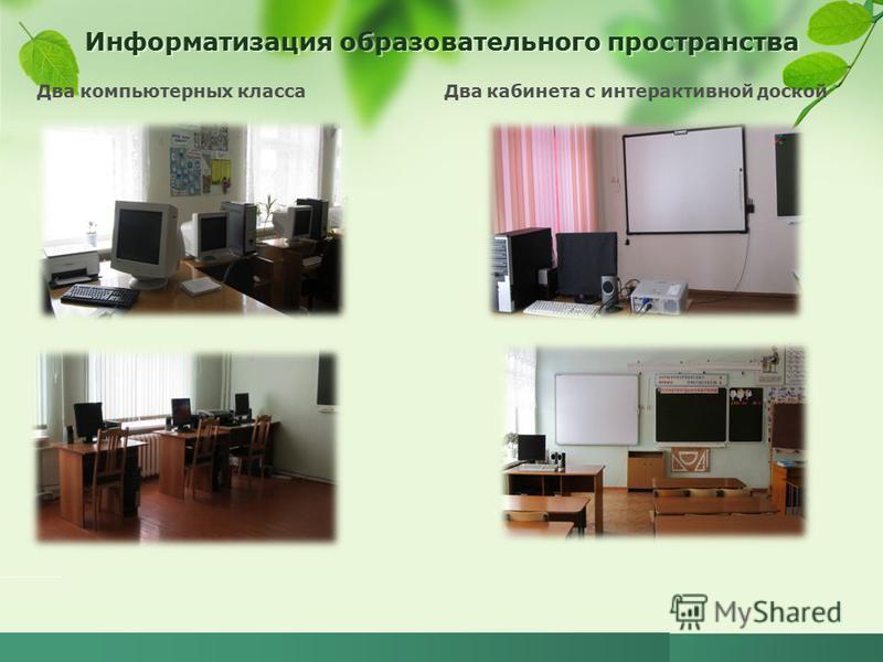 Информатизация образовательного пространства Два компьютерных класса Два кабинета с интерактивной доской