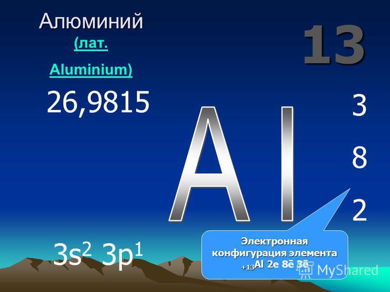 13 Алюминий Алюминий (лат. Aluminium) (лат. Aluminium) 382382 26,9815 3s 2 3p 1 Электронная конфигурация элемента +13 Al 2 Электронная конфигурация элемента +13 Al 2 е 8ē 3ē