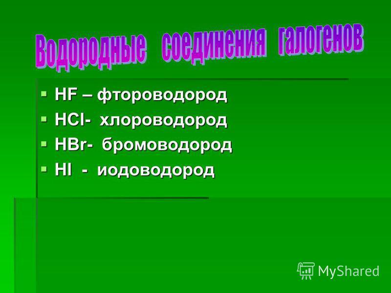 HF – фтороводород HF – фтороводород HCl- хлороводород HCl- хлороводород HBr- бромоводород HBr- бромоводород Hl - иодоводород Hl - иодоводород
