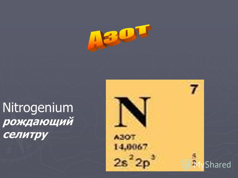 Nitrogenium рождающий селитру