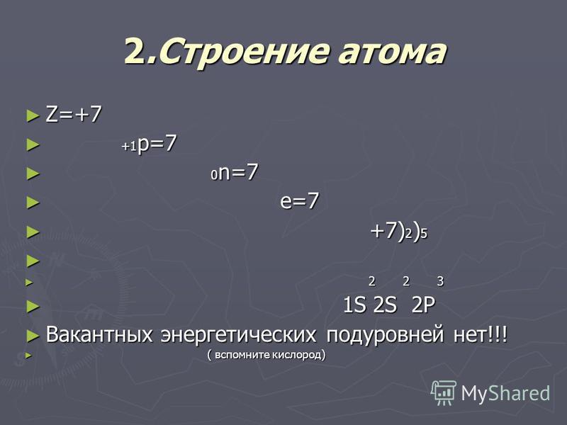 2. Строение атома Z=+7 Z=+7 +1 p=7 +1 p=7 0 n=7 0 n=7 е=7 е=7 +7) 2 ) 5 +7) 2 ) 5 2 2 3 2 2 3 1S 2S 2P 1S 2S 2P Вакантных энергетических подуровней нет!!! Вакантных энергетических подуровней нет!!! ( вспомните кислород) ( вспомните кислород)